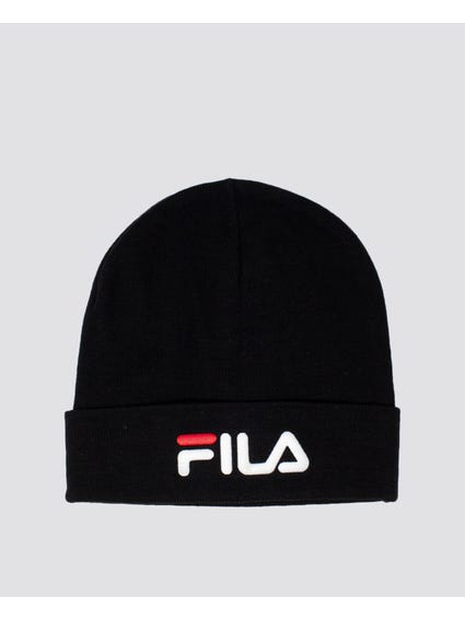 Black Embroidered Logo Print Beanie