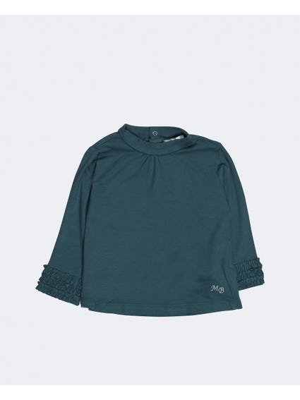 Green Frill Long Sleeves Infant Top
