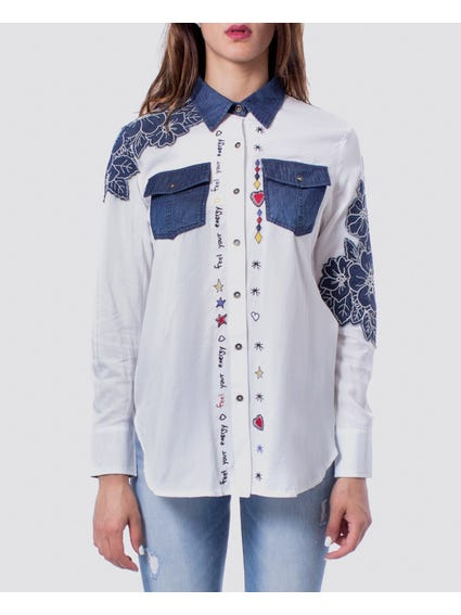 White Dual Flap Button Shirt