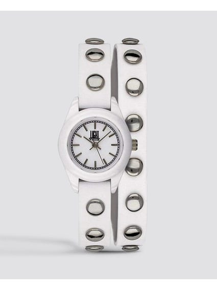 White Strap Studs Quartz Watch