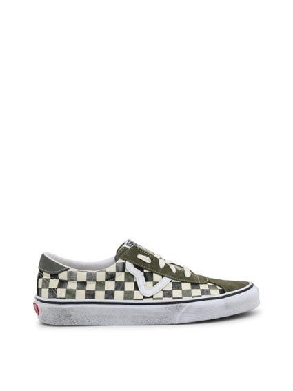 Green Dirty Checkered Sneakers
