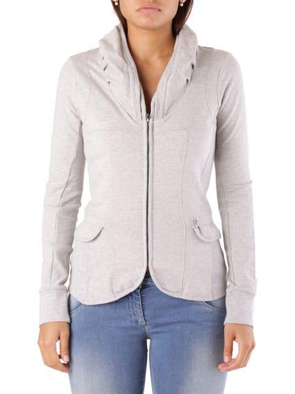 Grey Hooded Zip Pocket Blazer