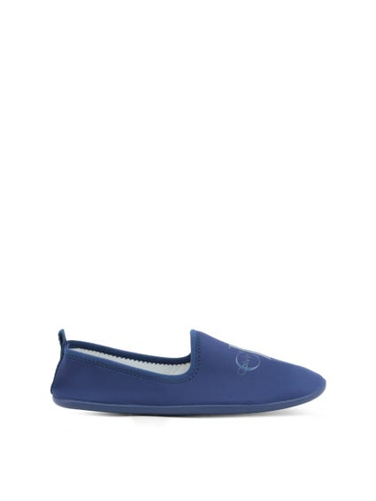 Blue Elastic Logo Slip On Shoes