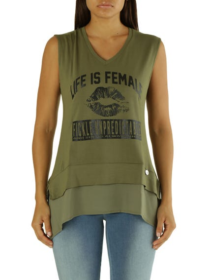 Green Sleeveless Graphic Tank Top