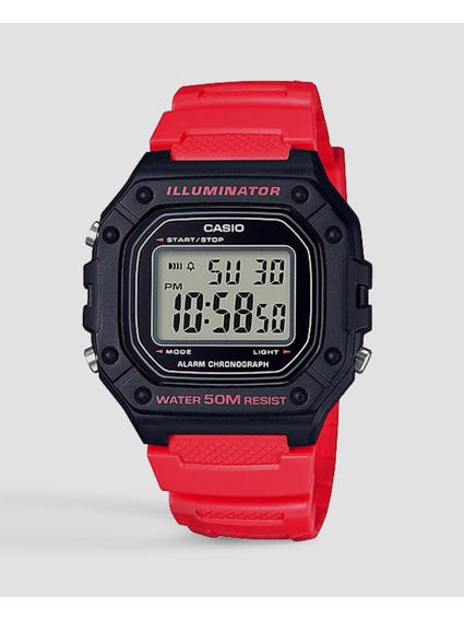 Red Resin Strap Digital Watch