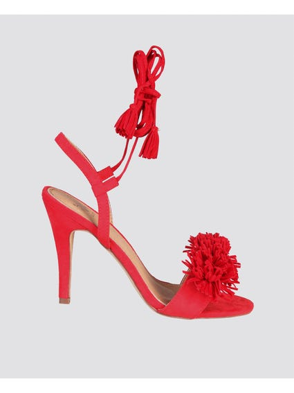Red Regine Fringe Sandals