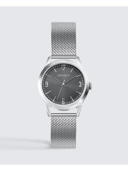 Black Dial Mesh Strap Analog Watch