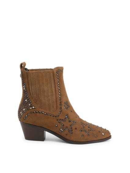 Brown Studs Elastic Gores Shoes