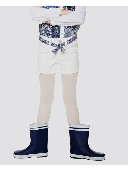 White Denim Casual Kids Shorts