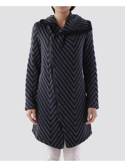Geo Pattern Slant Zip Coat
