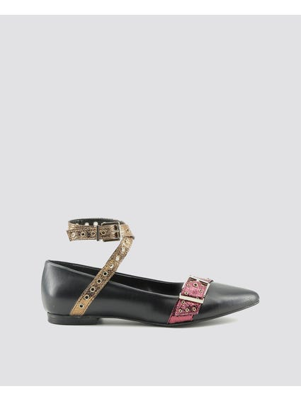 Black Antonella Flat Shoes