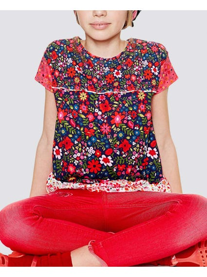 Blue Floral Kids Top