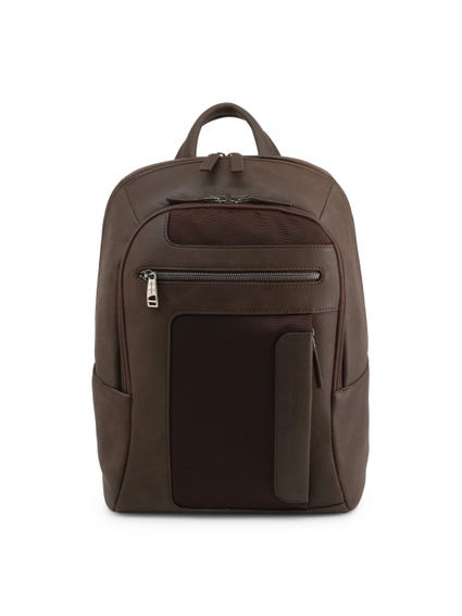 Brown Leather Zipper Backpack