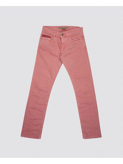 Pink Plain Button Kids Trouser