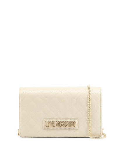 White Magnetic Snap Clutch Bag