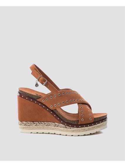 Camel Cross Strap Wedges Sandals