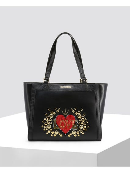 Black Love Studded Shopper Bag
