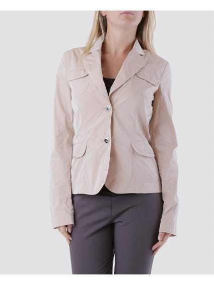 Beige Pointed Collar V-neck Blazer