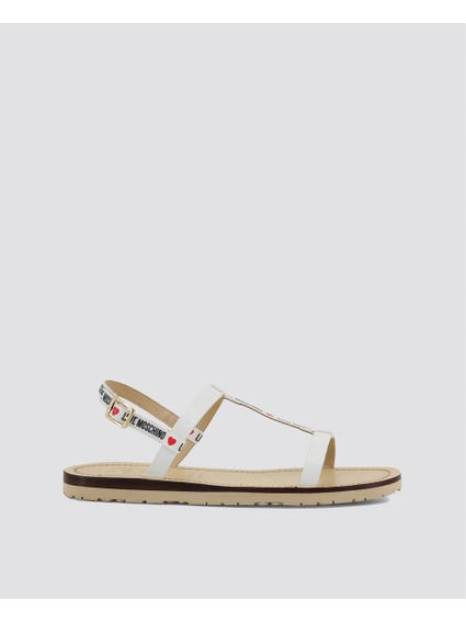 White Ankle Flat Sandals