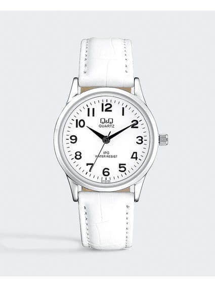 White Leather Analog Watch