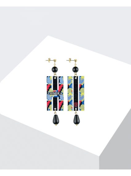 Black Embroidered Earrings