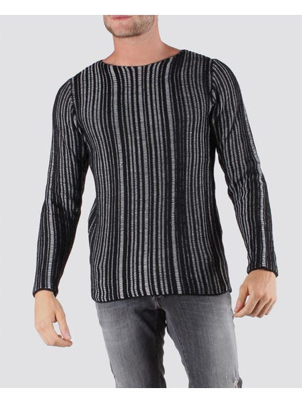 Black Stripes Long Sleeve Pullover