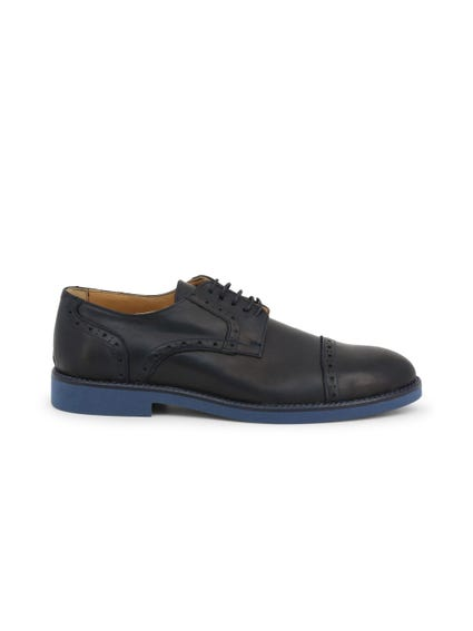 Blue Round Toe Leather Lace Shoes