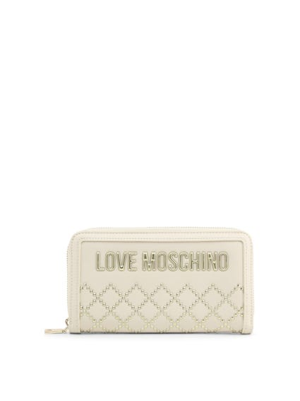 White Full Zipper Studs Wallet
