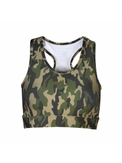 Green Elastic Hem Camo Sports Bra