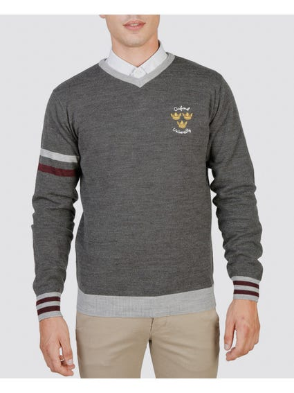 Grey Oxford V-Neck Sweater