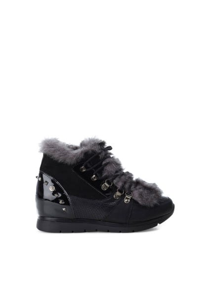 Black Textured Fur Lace Sneakers
