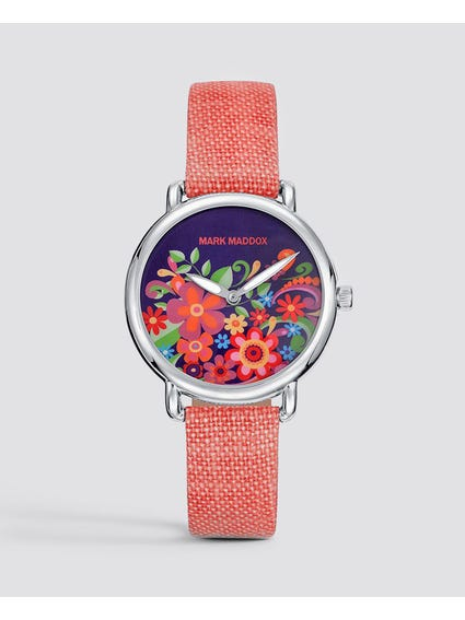 Red Floral Dial Analog Watch