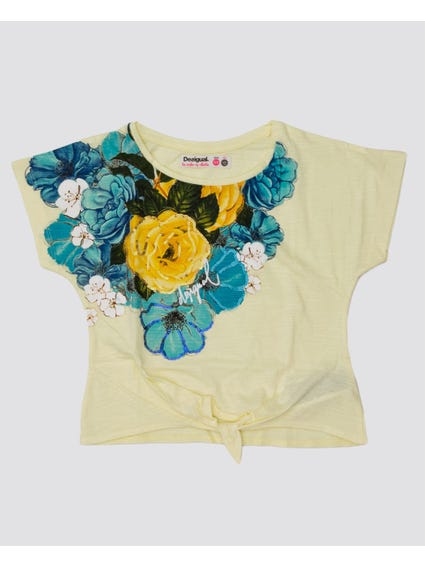Tie Hem Floral Kids T-Shirt