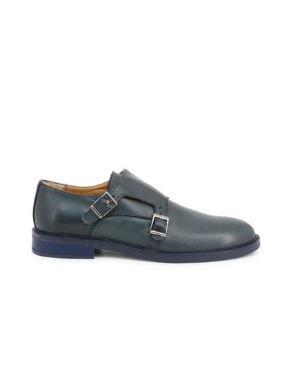 Blue Leather Buckle Pin Monk Shoes