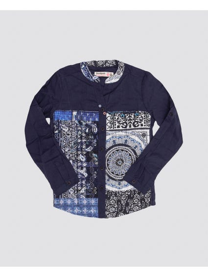 Blue Printed Long Sleeves Shirt