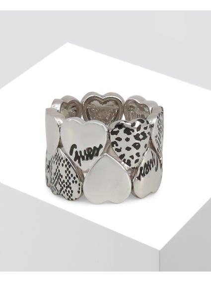 Silver Multi Hearts Ring