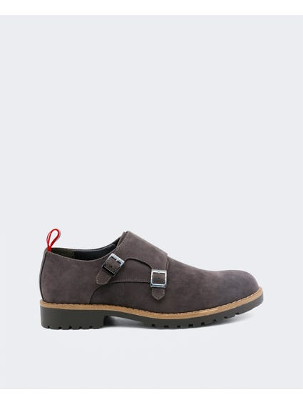 Grey Ramsey Buckle Formal Slip Ons