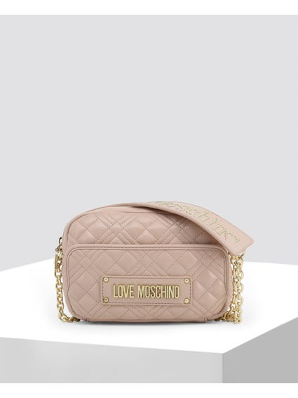 Pink Quilted Slim Crossbody Bag