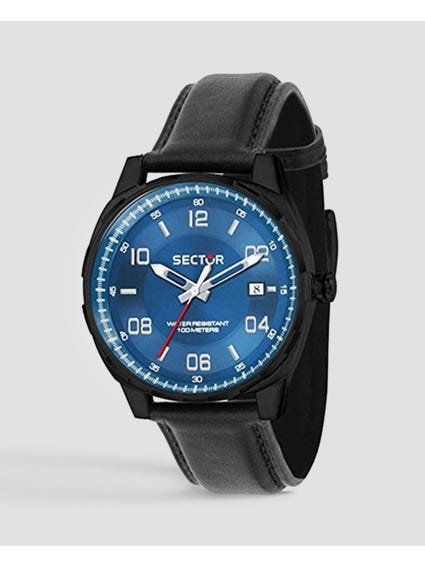 Blue Dial Analog Leather Watch