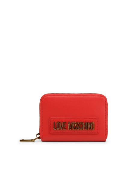 Red Round Zipper Leather Wallet