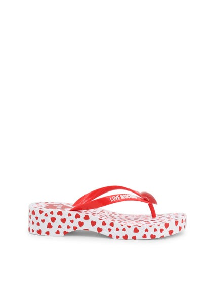 Red Tong Strap Printed Heart Flip Flops