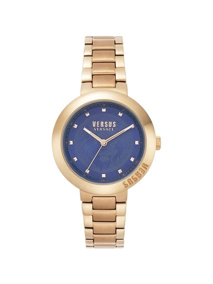 Gold Stainless Steel Blue Dial Watch